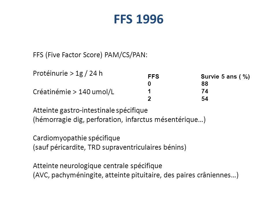 FFS 1996 FFS Survie 5 ans ( %) 0 88 1 74 2 54 FFS (Five Factor Score) PAM/CS/PAN: Protéinurie > 1g / 24 h Créatinémie > 140 umol/L Atteinte gastro-int