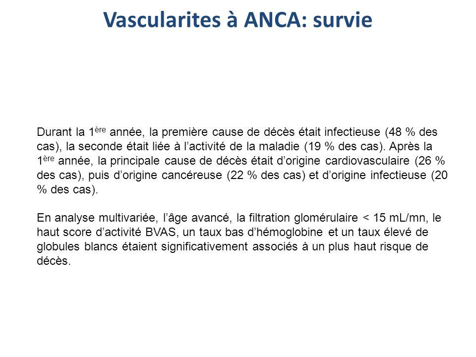 Durant la 1 ère année, la première cause de décès était infectieuse (48 % des cas), la seconde était liée à lactivité de la maladie (19 % des cas). Ap