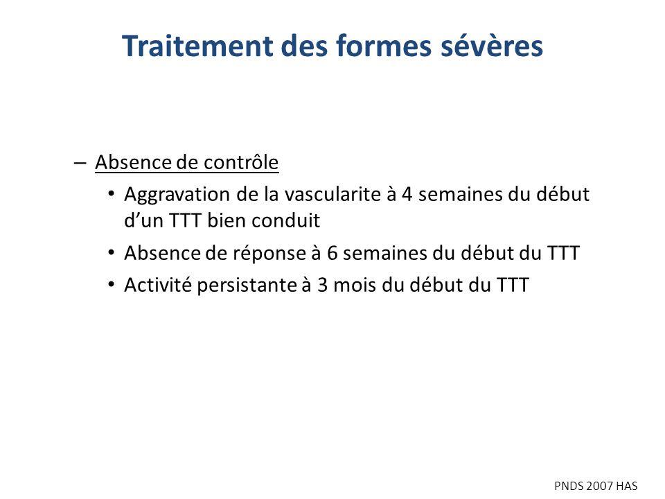 Traitement des formes sévères PNDS 2007 HAS – Absence de contrôle Aggravation de la vascularite à 4 semaines du début dun TTT bien conduit Absence de