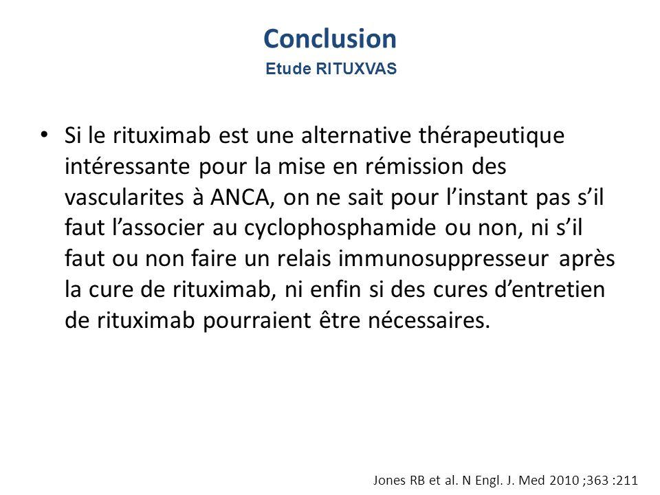 Si le rituximab est une alternative thérapeutique intéressante pour la mise en rémission des vascularites à ANCA, on ne sait pour linstant pas sil fau