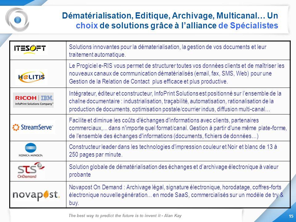 The best way to predict the future is to invent it - Alan Kay 15 Dématérialisation, Editique, Archivage, Multicanal… Un choix de solutions grâce à lal