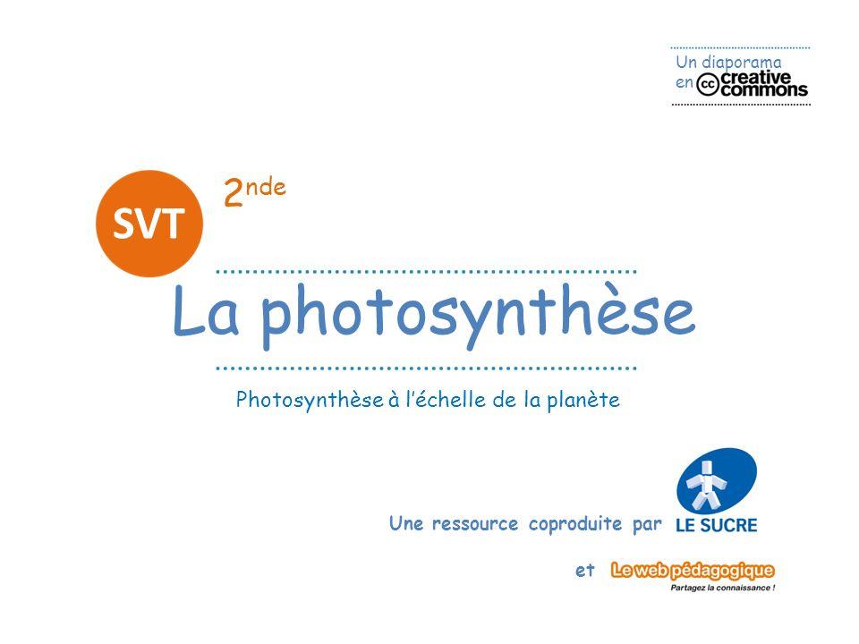 Un diaporama en Une ressource coproduite par et 2 nde La photosynthèse SVT Photosynthèse à léchelle de la planète