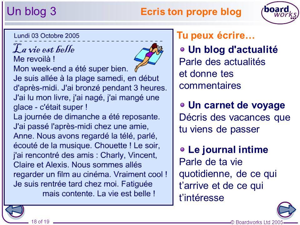 © Boardworks Ltd 2005 18 of 19 Un blog 3 Ecris ton propre blog Tu peux écrire… Un blog d'actualité Parle des actualités et donne tes commentaires Un c