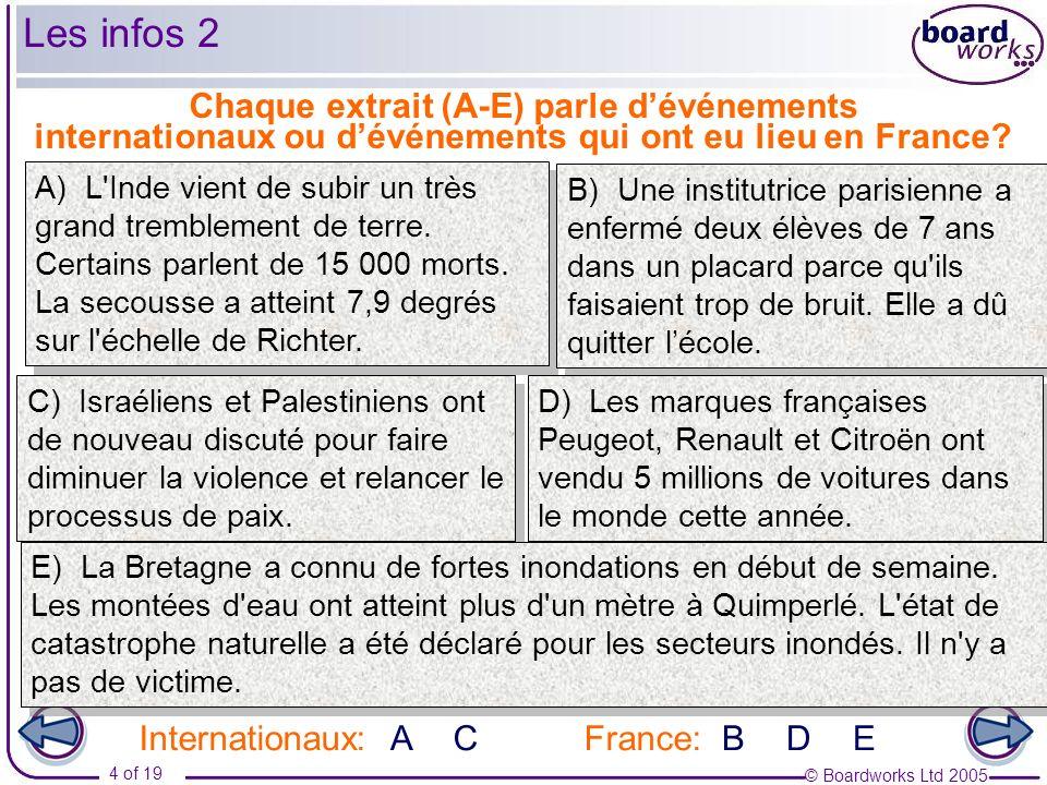 © Boardworks Ltd 2005 4 of 19 Chaque extrait (A-E) parle dévénements internationaux ou dévénements qui ont eu lieu en France? Internationaux:France:AC