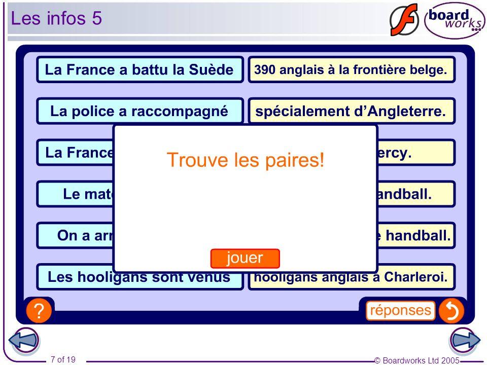 © Boardworks Ltd 2005 7 of 19 Les infos 5