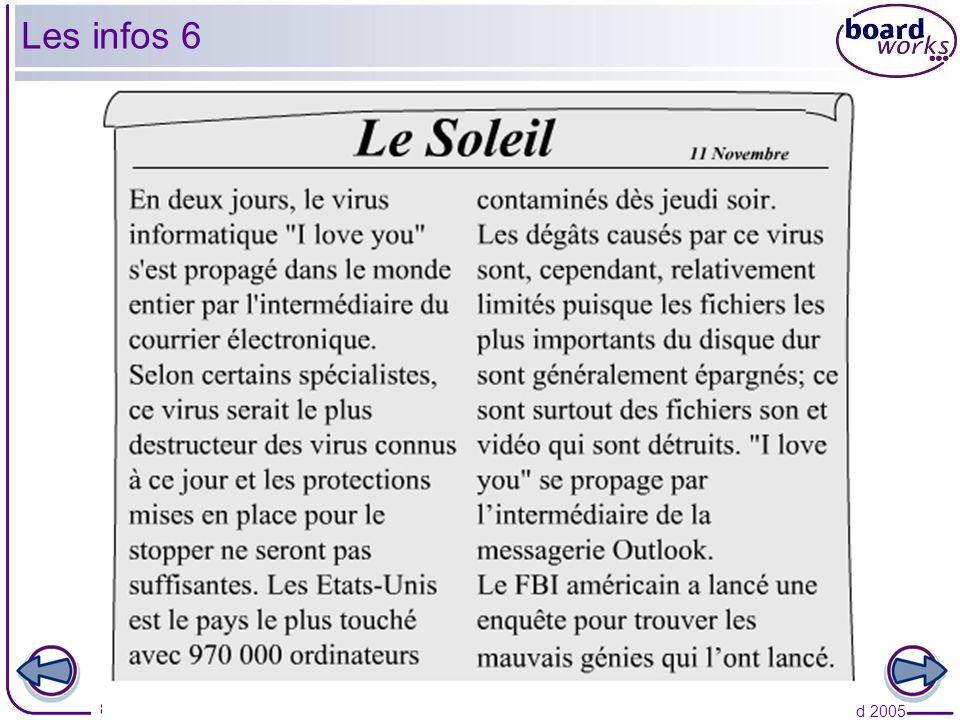 © Boardworks Ltd 2005 8 of 19 Les infos 6