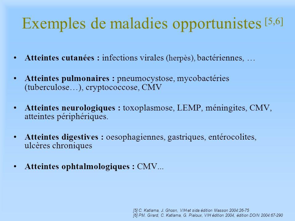 Exemples de maladies opportunistes [5,6] Atteintes cutanées : infections virales (herpès), bactériennes, … Atteintes pulmonaires : pneumocystose, myco