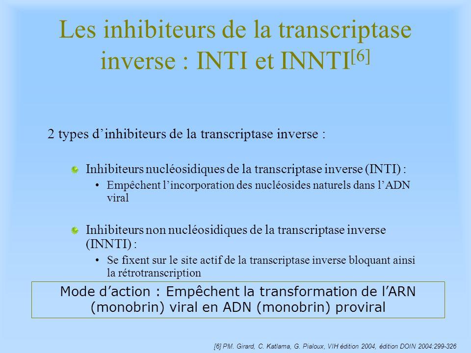 Les inhibiteurs de la transcriptase inverse : INTI et INNTI [6] 2 types dinhibiteurs de la transcriptase inverse : Inhibiteurs nucléosidiques de la tr