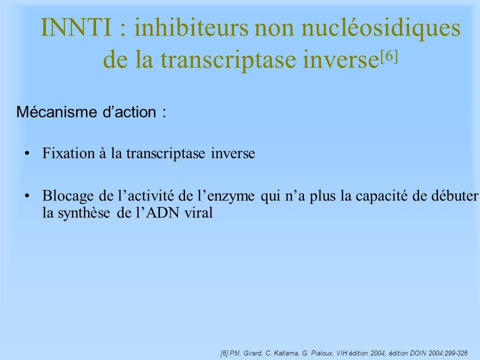 Fixation à la transcriptase inverse Blocage de lactivité de lenzyme qui na plus la capacité de débuter la synthèse de lADN viral INNTI : inhibiteurs n