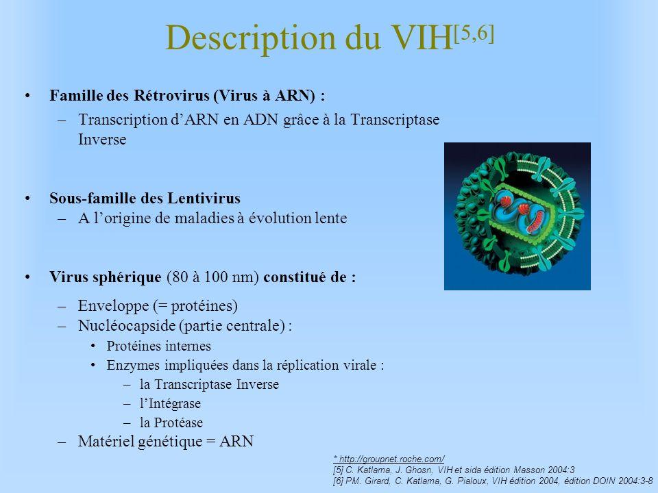 Description du VIH [5,6] Famille des Rétrovirus (Virus à ARN) : –Transcription dARN en ADN grâce à la Transcriptase Inverse Sous-famille des Lentiviru