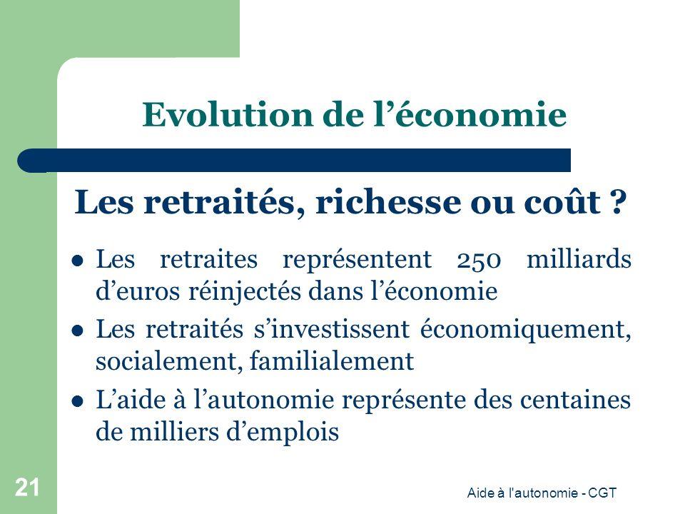 Evolution de léconomie Les retraités, richesse ou coût .