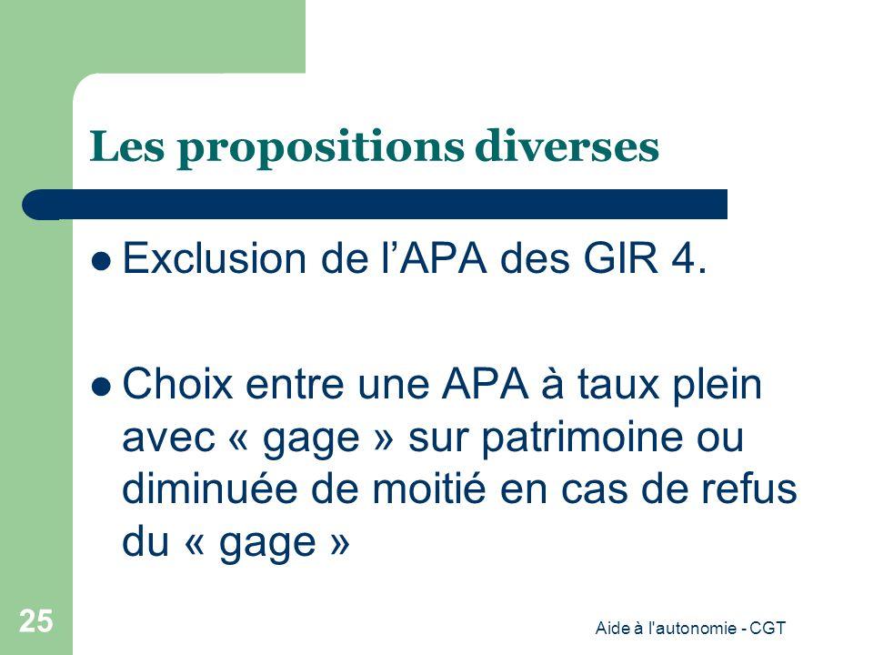 Les propositions diverses Exclusion de lAPA des GIR 4.