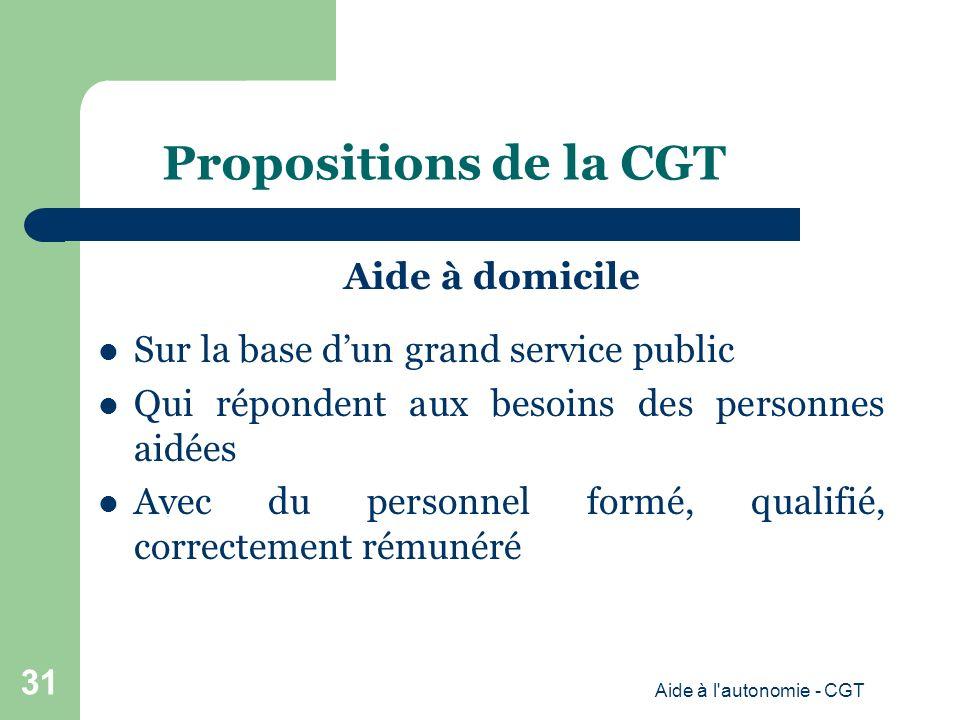 Propositions de la CGT Aide à domicile Sur la base dun grand service public Qui répondent aux besoins des personnes aidées Avec du personnel formé, qualifié, correctement rémunéré Aide à l autonomie - CGT 31