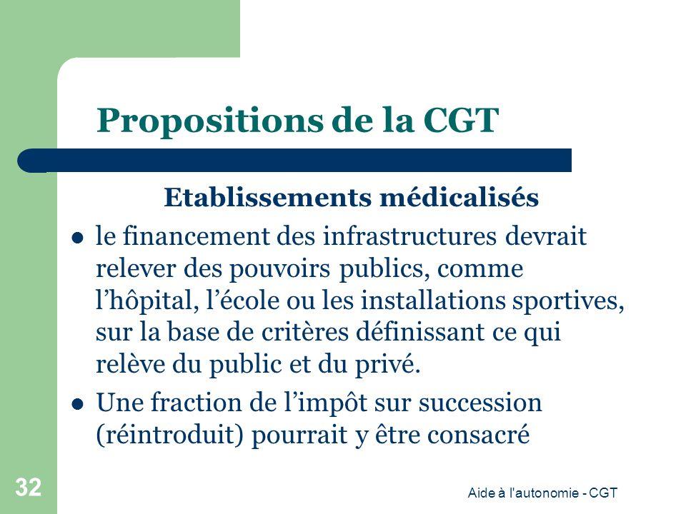 Propositions de la CGT Etablissements médicalisés le financement des infrastructures devrait relever des pouvoirs publics, comme lhôpital, lécole ou les installations sportives, sur la base de critères définissant ce qui relève du public et du privé.