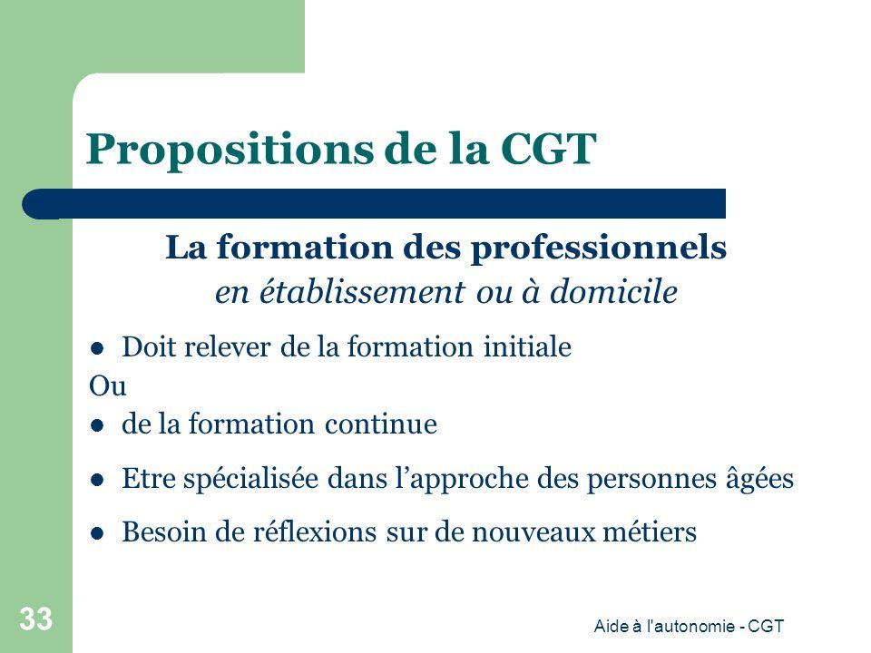 Propositions de la CGT La formation des professionnels en établissement ou à domicile Doit relever de la formation initiale Ou de la formation continue Etre spécialisée dans lapproche des personnes âgées Besoin de réflexions sur de nouveaux métiers Aide à l autonomie - CGT 33