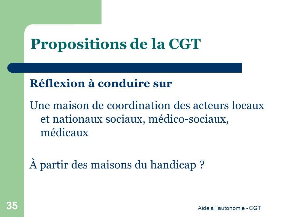 Propositions de la CGT Réflexion à conduire sur Une maison de coordination des acteurs locaux et nationaux sociaux, médico-sociaux, médicaux À partir des maisons du handicap .
