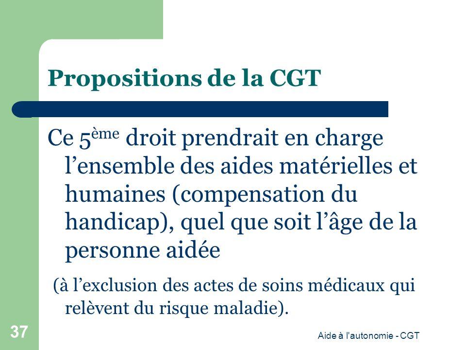 Propositions de la CGT Ce 5 ème droit prendrait en charge lensemble des aides matérielles et humaines (compensation du handicap), quel que soit lâge de la personne aidée (à lexclusion des actes de soins médicaux qui relèvent du risque maladie).