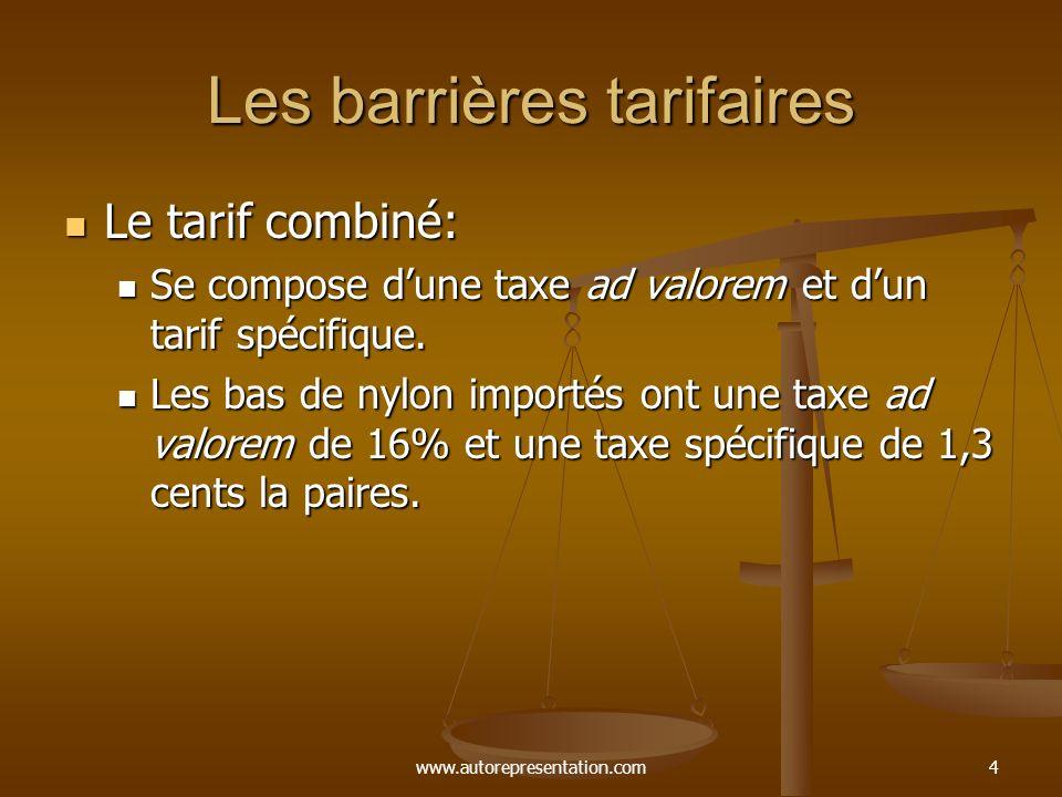 www.autorepresentation.com4 Les barrières tarifaires Le tarif combiné: Le tarif combiné: Se compose dune taxe ad valorem et dun tarif spécifique.
