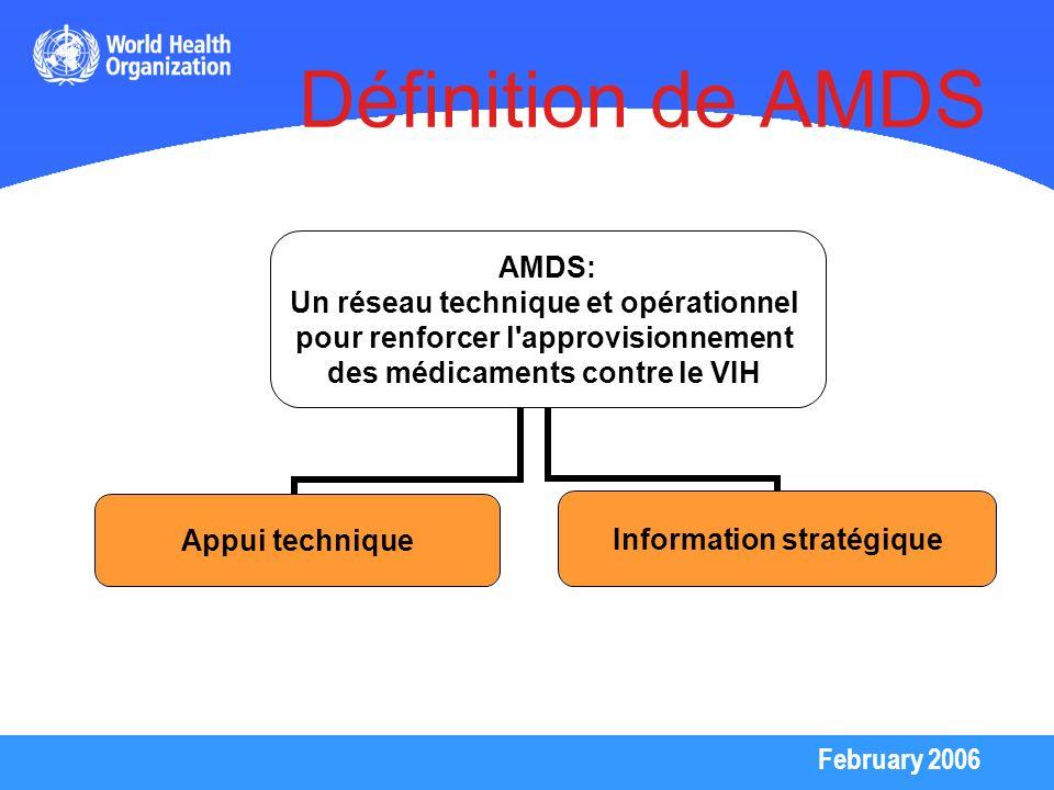 February 2006 Définition de AMDS AMDS: Un réseau technique et opérationnel pour renforcer l'approvisionnement des médicaments contre le VIH Appui tech