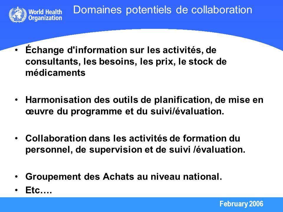 February 2006 Domaines potentiels de collaboration Échange d'information sur les activités, de consultants, les besoins, les prix, le stock de médicam