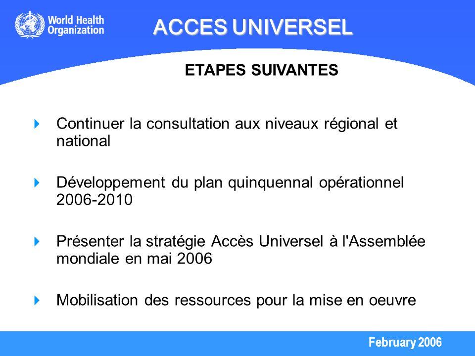 February 2006 ACCES UNIVERSEL Continuer la consultation aux niveaux régional et national Développement du plan quinquennal opérationnel 2006-2010 Prés