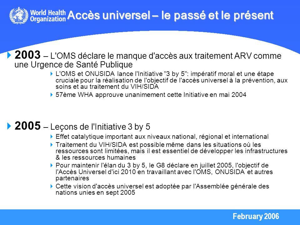 February 2006 2003 – L'OMS déclare le manque d'accès aux traitement ARV comme une Urgence de Santé Publique L'OMS et ONUSIDA lance l'Initiative