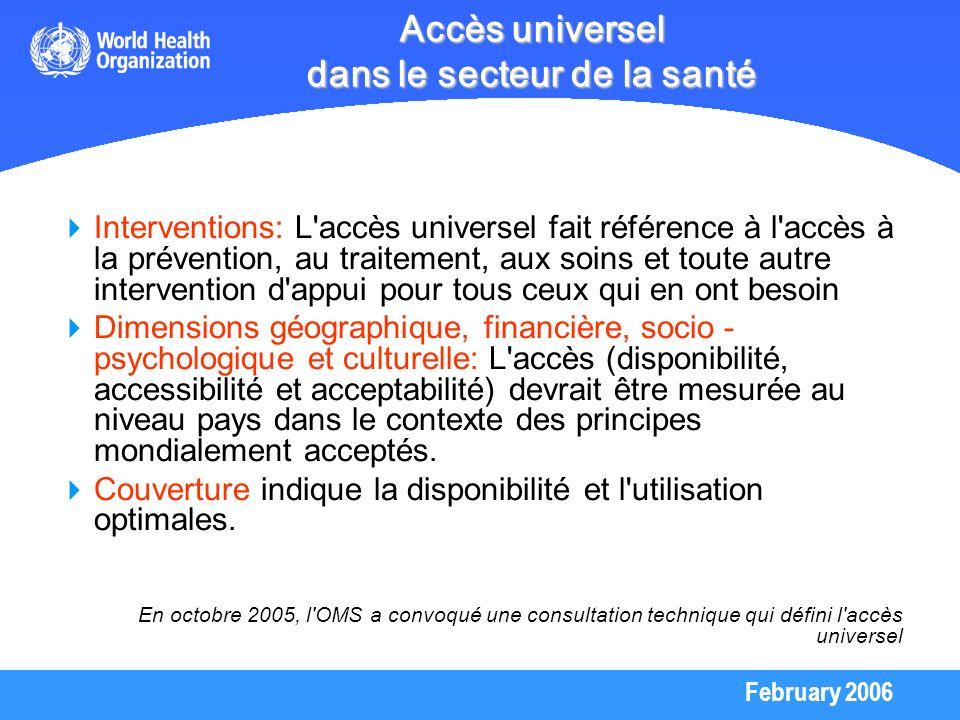 February 2006 Accès universel dans le secteur de la santé Interventions: L'accès universel fait référence à l'accès à la prévention, au traitement, au