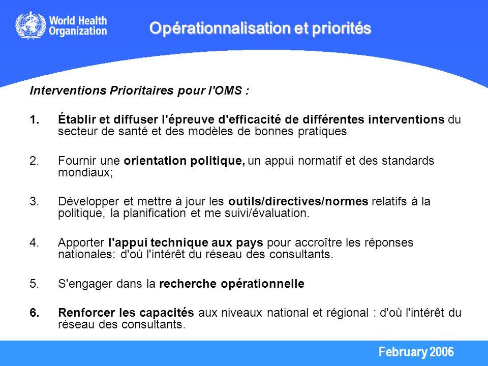 February 2006 Opérationnalisation et priorités Interventions Prioritaires pour l'OMS : 1.Établir et diffuser l'épreuve d'efficacité de différentes int