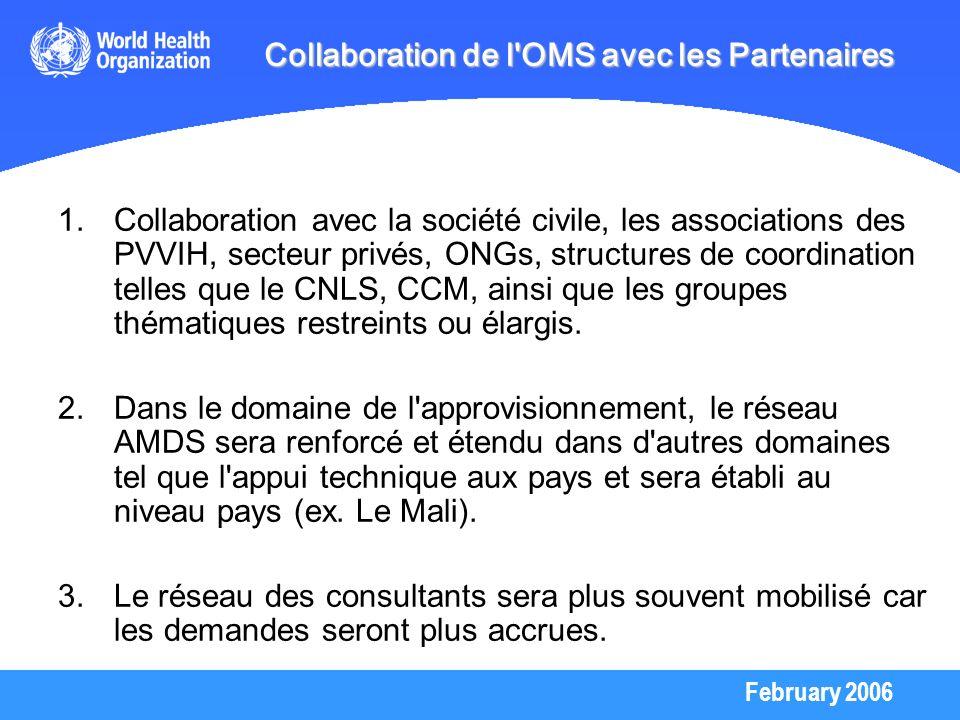 February 2006 Collaboration de l'OMS avec les Partenaires 1.Collaboration avec la société civile, les associations des PVVIH, secteur privés, ONGs, st