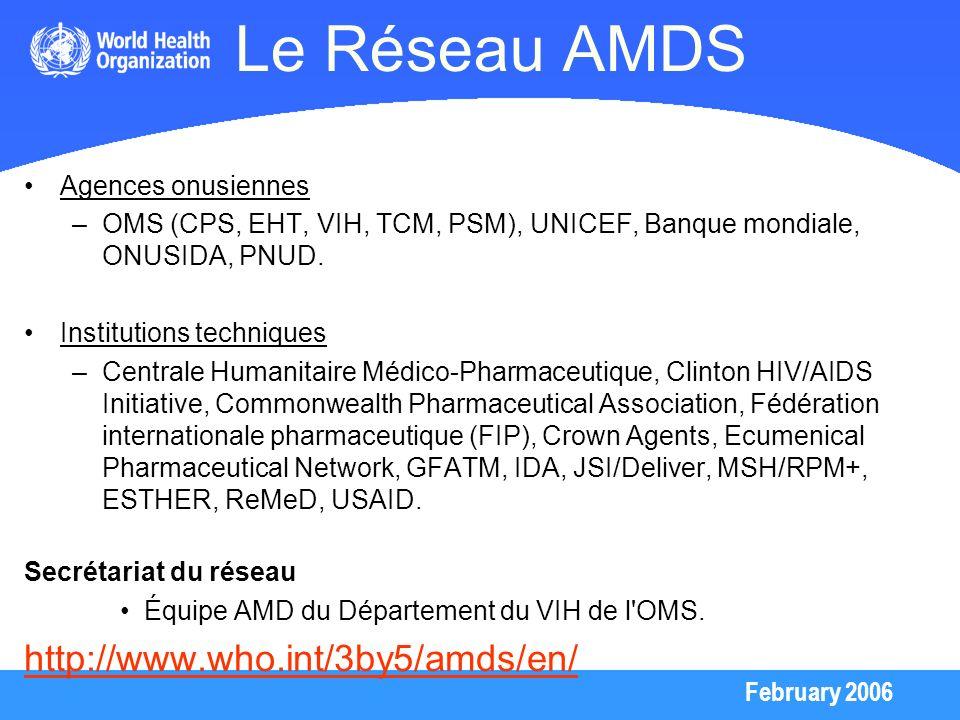 February 2006 Le Réseau AMDS Agences onusiennes –OMS (CPS, EHT, VIH, TCM, PSM), UNICEF, Banque mondiale, ONUSIDA, PNUD. Institutions techniques –Centr