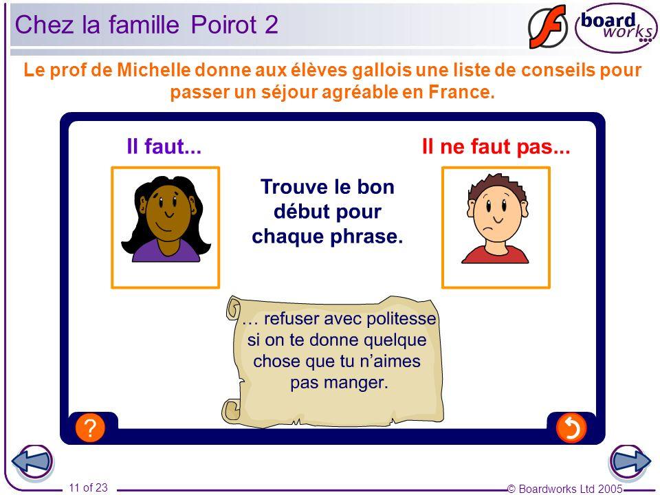 © Boardworks Ltd 2005 11 of 23 Le prof de Michelle donne aux élèves gallois une liste de conseils pour passer un séjour agréable en France. Chez la fa