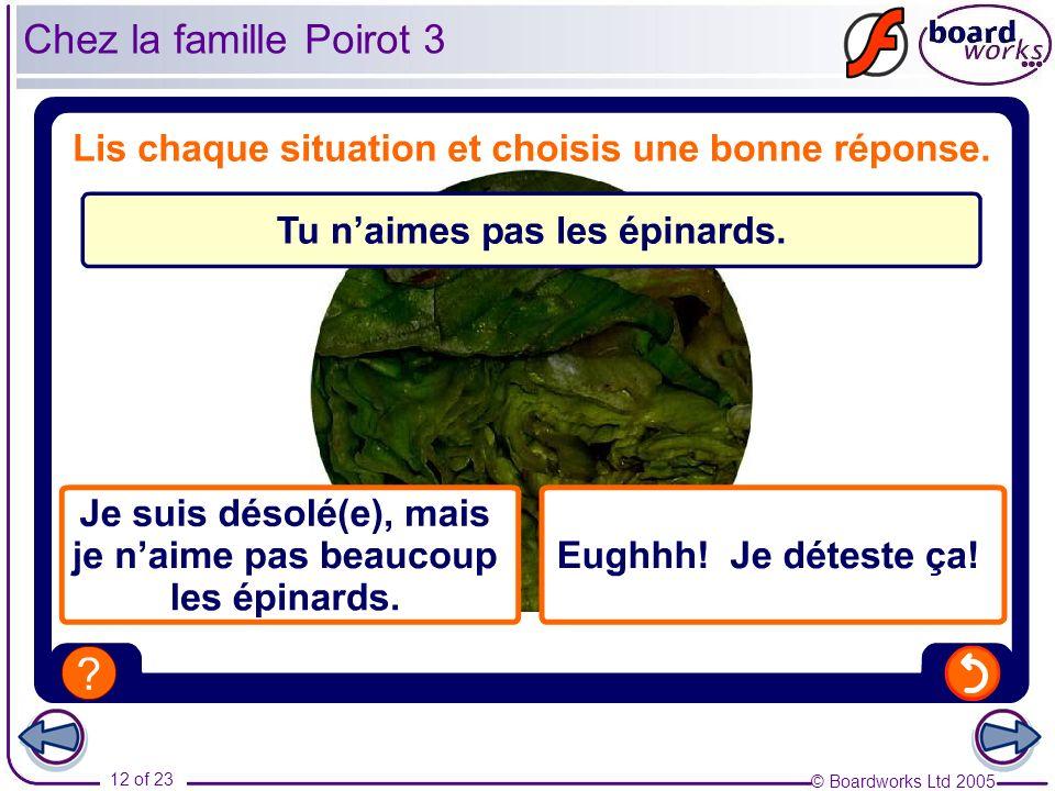 © Boardworks Ltd 2005 12 of 23 Chez la famille Poirot 3
