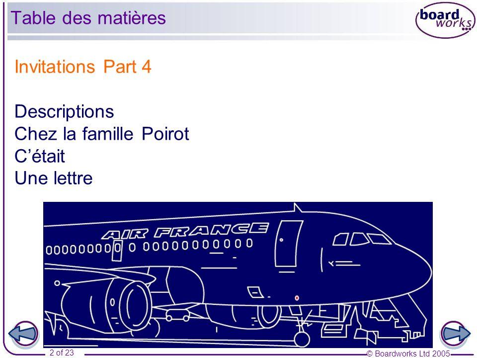 © Boardworks Ltd 2005 2 of 23 Invitations Part 4 Descriptions Chez la famille Poirot Cétait Une lettre Table des matières