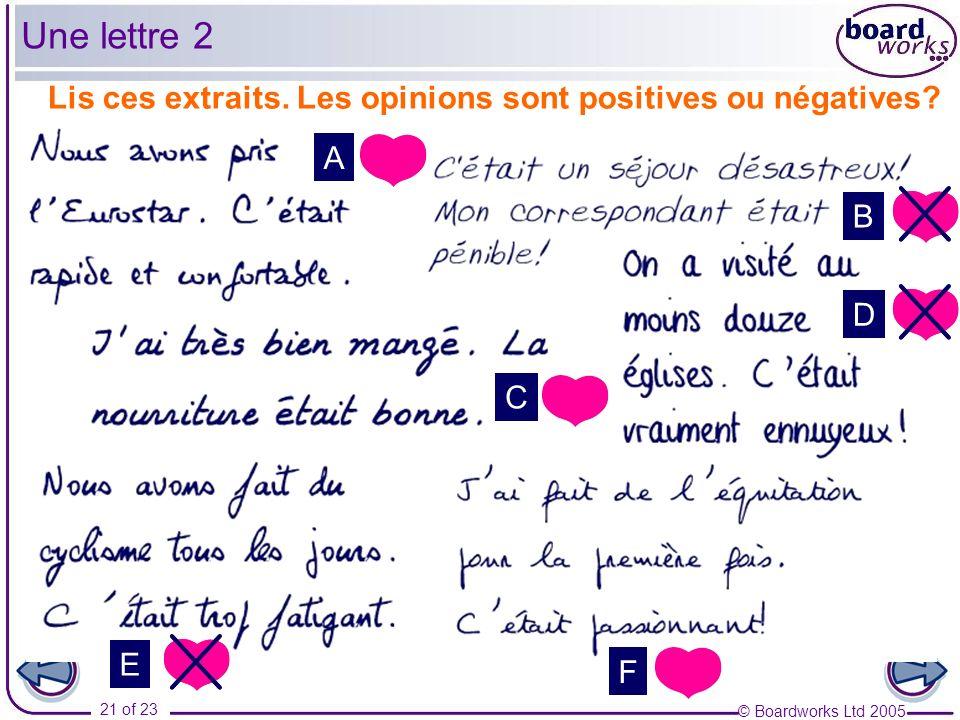 © Boardworks Ltd 2005 21 of 23 Lis ces extraits. Les opinions sont positives ou négatives? A B C D E F Une lettre 2
