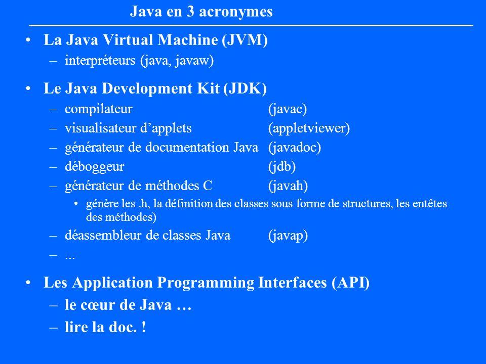Java en 3 acronymes La Java Virtual Machine (JVM) –interpréteurs (java, javaw) Le Java Development Kit (JDK) –compilateur (javac) –visualisateur dappl