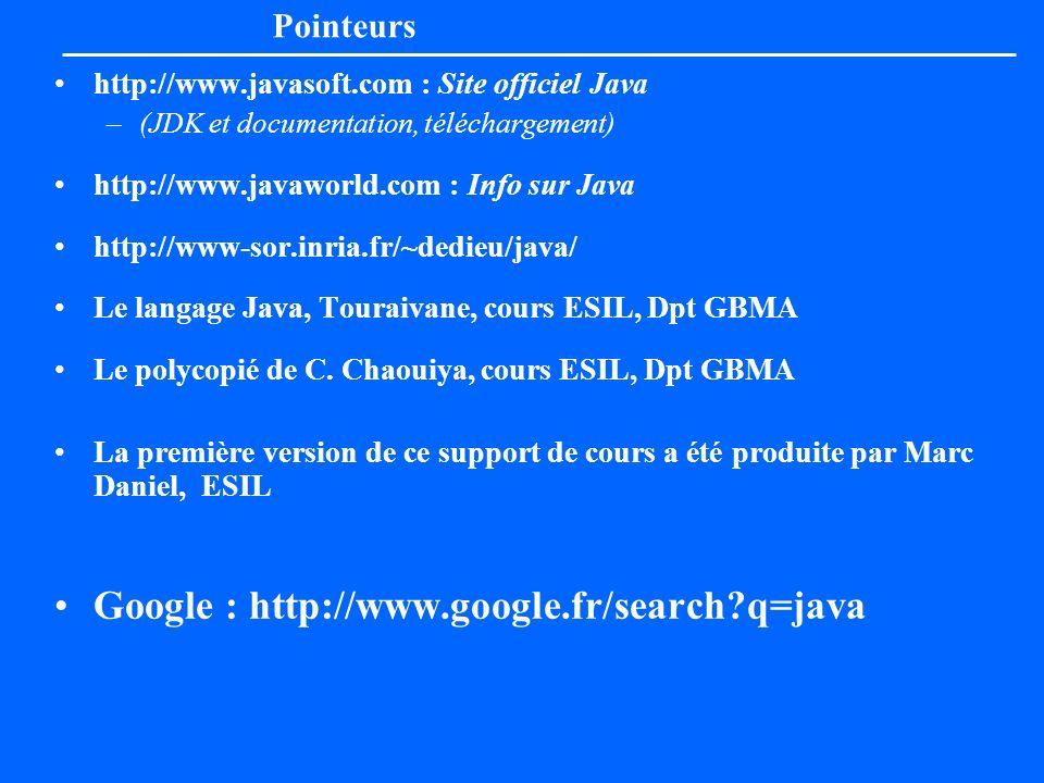 Pointeurs http://www.javasoft.com : Site officiel Java –(JDK et documentation, téléchargement) http://www.javaworld.com : Info sur Java http://www-sor