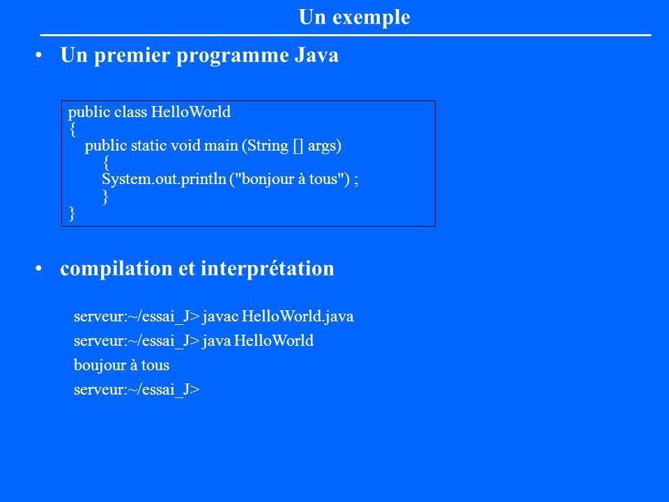 Un premier programme Java compilation et interprétation Un exemple public class HelloWorld { public static void main (String [] args) { System.out.pri