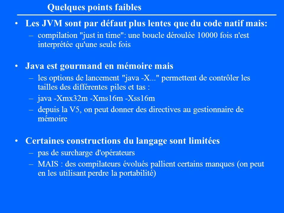 Les JVM sont par défaut plus lentes que du code natif mais: –compilation
