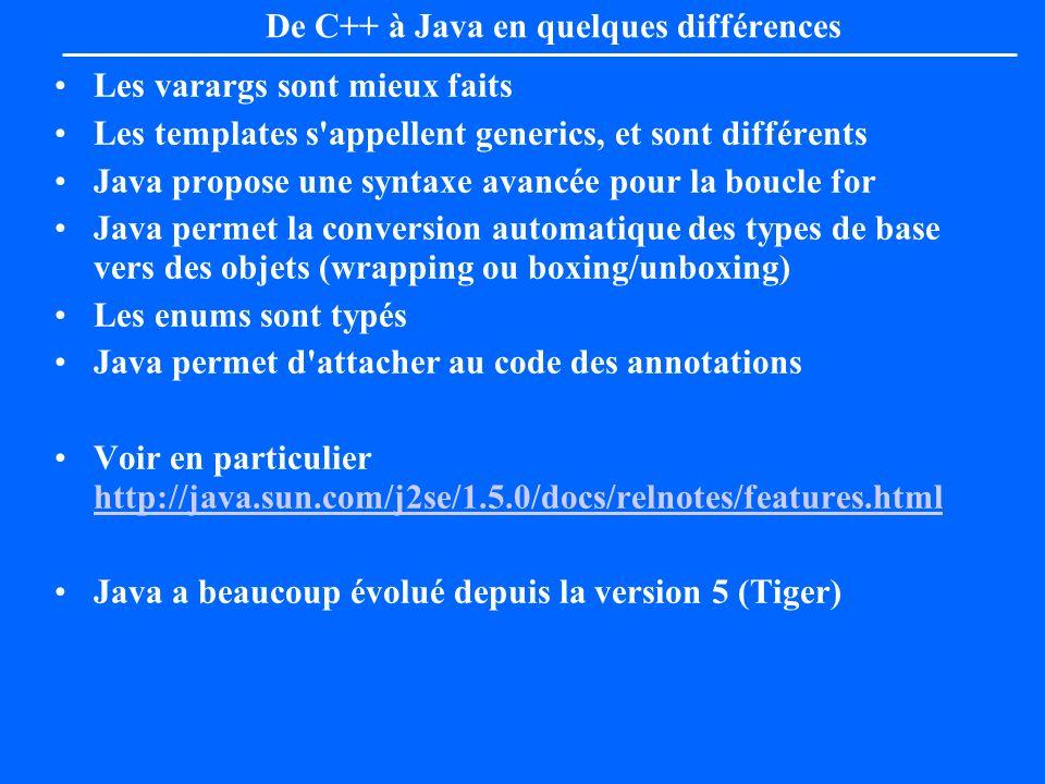 De C++ à Java en quelques différences Les varargs sont mieux faits Les templates s'appellent generics, et sont différents Java propose une syntaxe ava