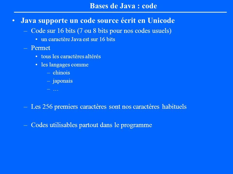 Bases de Java : code Java supporte un code source écrit en Unicode –Code sur 16 bits (7 ou 8 bits pour nos codes usuels) un caractère Java est sur 16