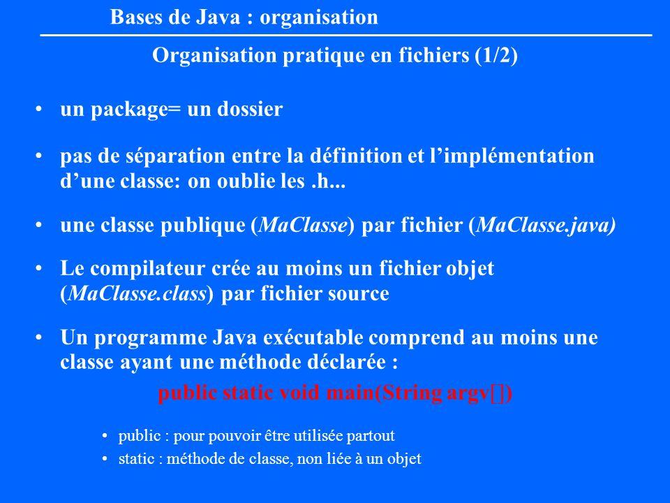 Bases de Java : organisation Organisation pratique en fichiers (1/2) un package= un dossier pas de séparation entre la définition et limplémentation d