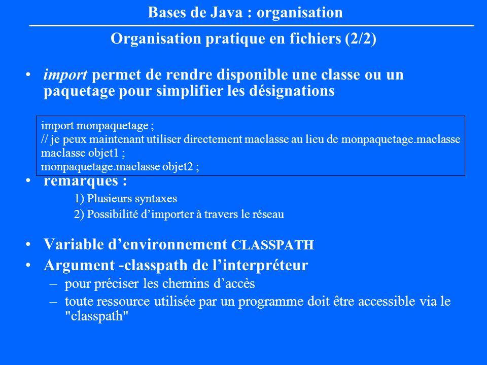 Bases de Java : organisation Organisation pratique en fichiers (2/2) import permet de rendre disponible une classe ou un paquetage pour simplifier les