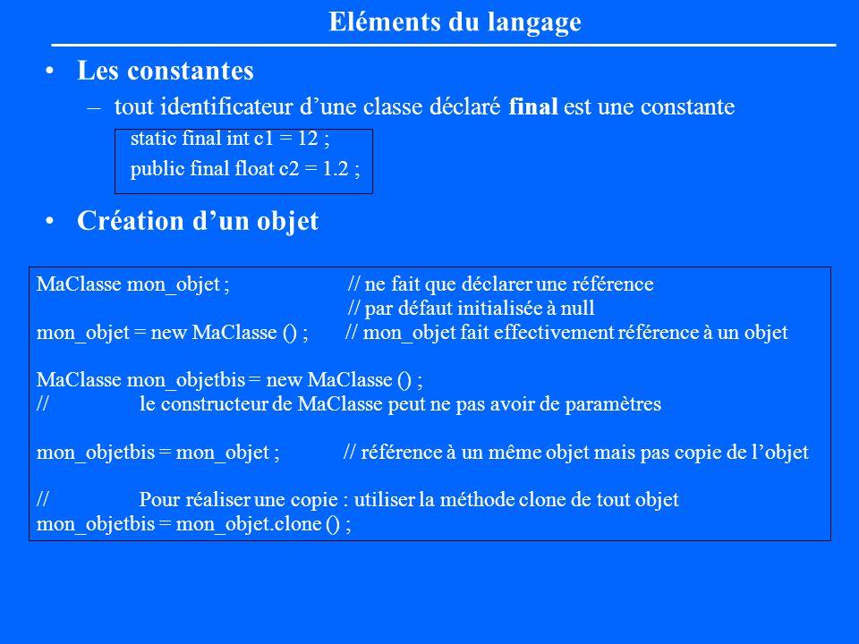 Les constantes –tout identificateur dune classe déclaré final est une constante static final int c1 = 12 ; public final float c2 = 1.2 ; Création dun