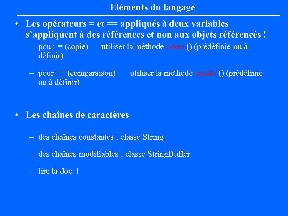 Les opérateurs = et == appliqués à deux variables sappliquent à des références et non aux objets référencés ! –pour = (copie) utiliser la méthode clon