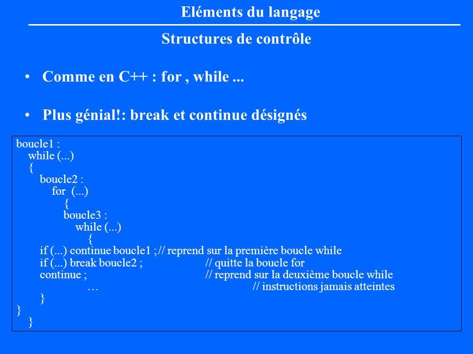Structures de contrôle Comme en C++ : for, while... Plus génial!: break et continue désignés Eléments du langage boucle1 : while (...) { boucle2 : for