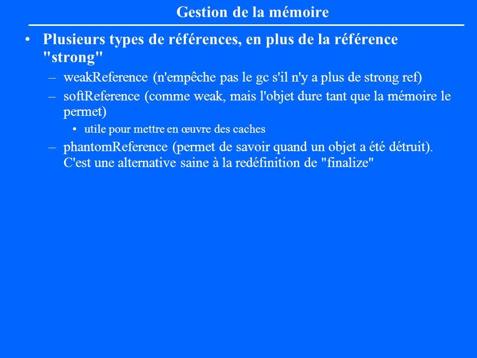 Gestion de la mémoire Plusieurs types de références, en plus de la référence