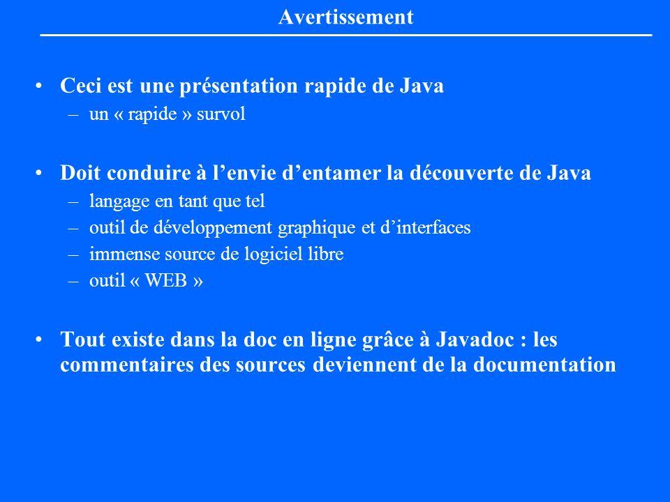 Avertissement Ceci est une présentation rapide de Java –un « rapide » survol Doit conduire à lenvie dentamer la découverte de Java –langage en tant qu