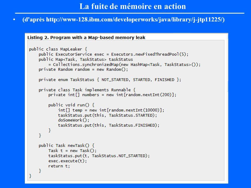 La fuite de mémoire en action (d'après http://www-128.ibm.com/developerworks/java/library/j-jtp11225/)