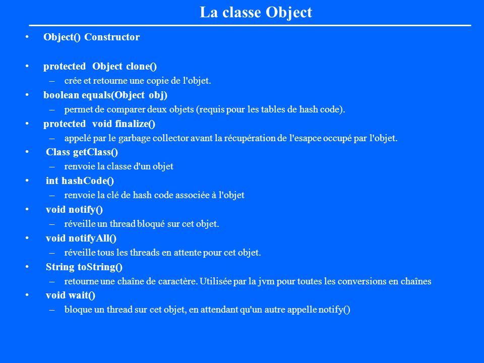 La classe Object Object() Constructor protected Object clone() –crée et retourne une copie de l'objet. boolean equals(Object obj) –permet de comparer