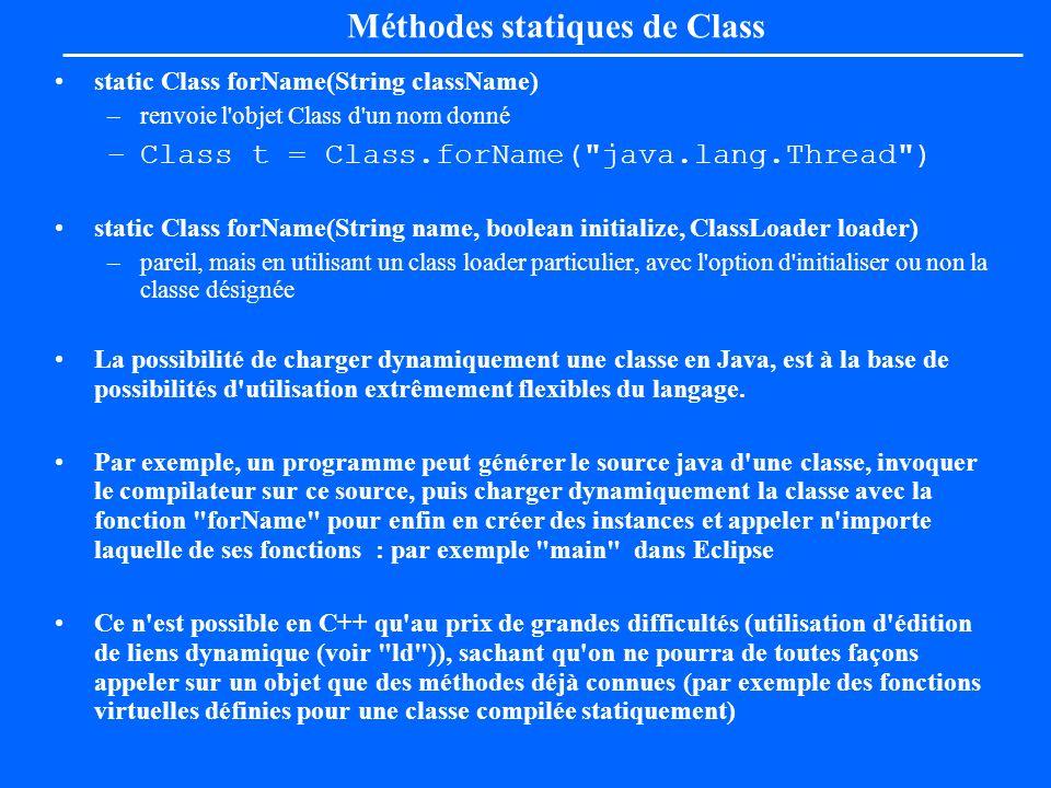 Méthodes statiques de Class static Class forName(String className) –renvoie l'objet Class d'un nom donné –Class t = Class.forName(